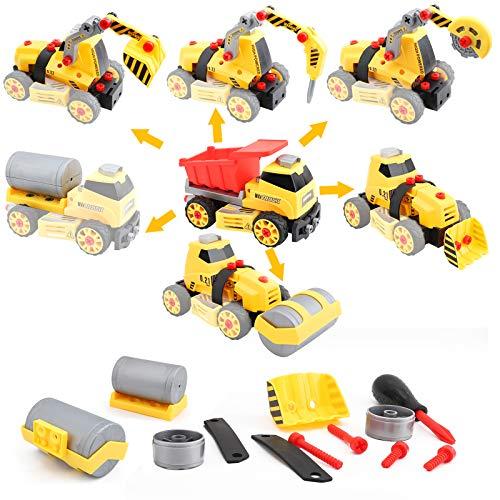 FORMIZON Montage Spielzeug Auto LKW, 7 in 1 BAU Bagger Spielzeug mit Schraubendreher, Montage LKW Spielzeug...