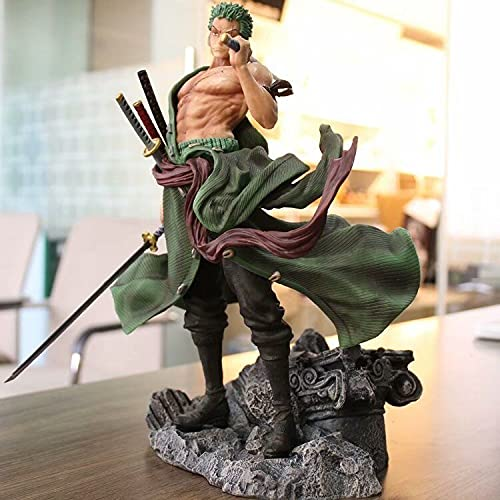 Liiokiy 32 cm Figura de acción One Piece Figure Roronoa Zoro Three Sword Style Anime Figura Collectible Figura Decoración Arte Juegos de Regalo Anime Animación Personaje Modelo en Caja