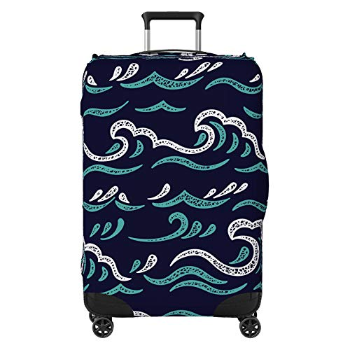 Wave Ocean Surf Suitcase Cover Protector Skin Blue Large 30' - 32' (Suitcase Not Included)