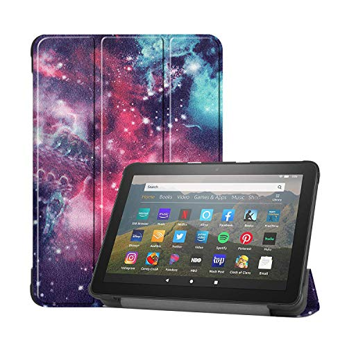 UUcovers for 8' All-New Kindle Fire HD 8 Tablet 2020 (10th Gen) and Fire HD 8 Plus Case (10th Generation, 2020 Release), Folio Stand PU Leather Trifold Cover with Auto Sleep/Wake, Colorful Galaxy