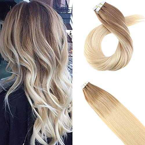 Moresoo Tape On Extensions Haarverlängerung Zum Kleben 20zoll/50cm Skin Weft Brasilianisch Remy Tressen Glatt Braun #6 Zu Blond #60 Zweifarbig 10PC 25G