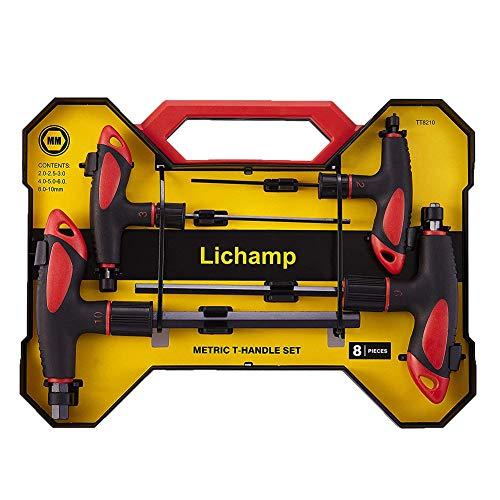 Lichamp T Handle Allen Wrench Set Metric, Meter Thandle Tee Handle Allen Hex Key Set MM, 2 2.5 3 4 5 6 8 10mm, 8-Pieces HeavyDuty Excellent Set