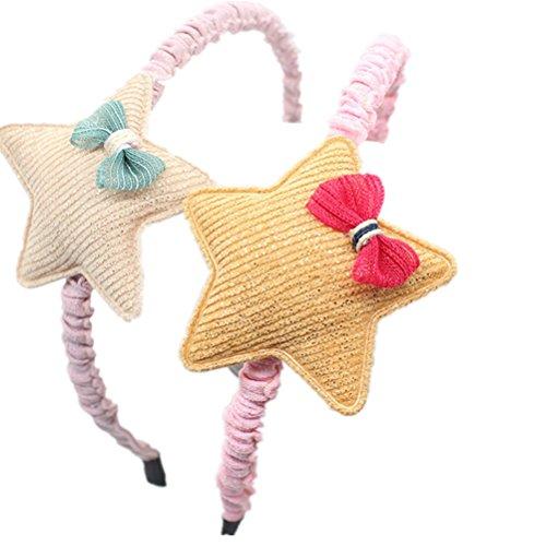 Cuhair 2 pcs Big Sweet en dentelle Fleur étoile Cheveux Hoops Bandeaux cheveux Accessoires Cheveux pour Enfants Filles