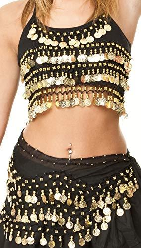 Costume Ensemble Danse Orientale Femme Ceinture Foulard Jupe + camisole soutien-gorge Top Noir/D'or