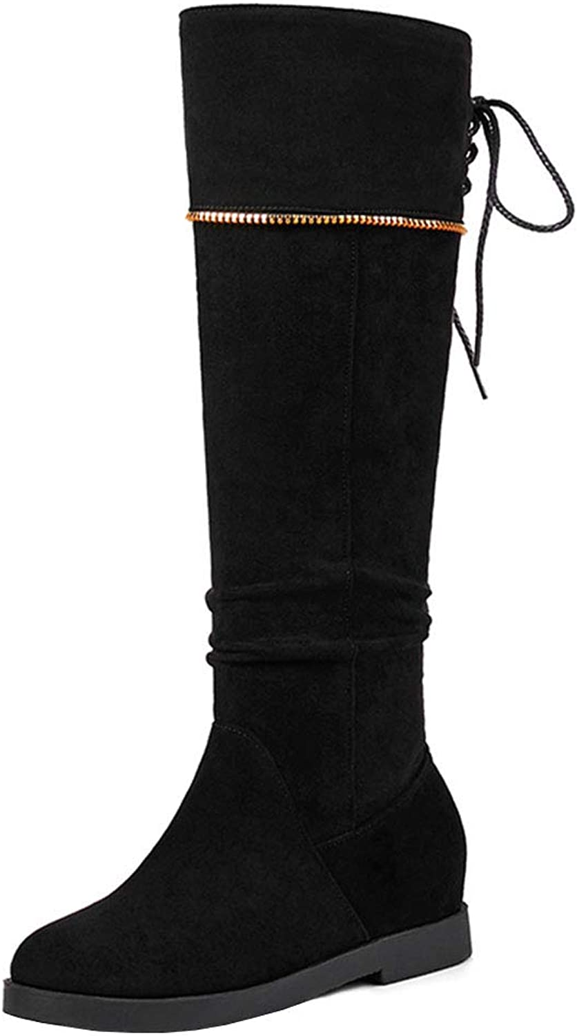 FizaiZifai Women Pull On Knee High Boots Wedge Heel