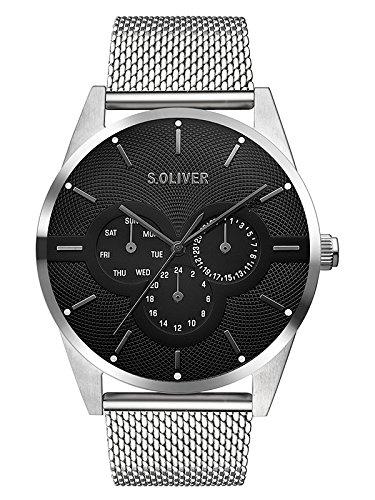 s.Oliver Herren Multi Zifferblatt Quarz Armbanduhr mit Edelstahlarmband SO-3574-MM