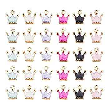 Juland 60 Pieces Mixed Alloy Crown Enamel Charms Pendants Necklace Bracelet Charms Assorted Metal Floating Charms Wholesale Earrings Findings Oil Drip Charms for DIY Glass Living Memory Locket