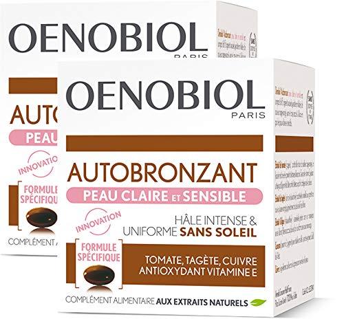 professionnel comparateur Oenobiol-Autobronzant 2 × 30 Tan Capsule Oenobiol pour peau propre et sensible choix