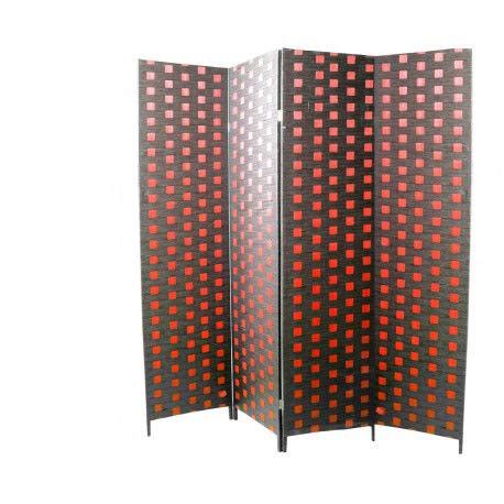 Hogar y Mas Biombo Separadaor 4 Paneles, Bambú Natural, Papel Trenzado Rojo y Negro, 180 cm