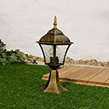 Rustikale Wegbeleuchtung Garten Gold Antik IP43 Alu E27 43cm hoch Sockellampe Außen Balkon Einfahrt