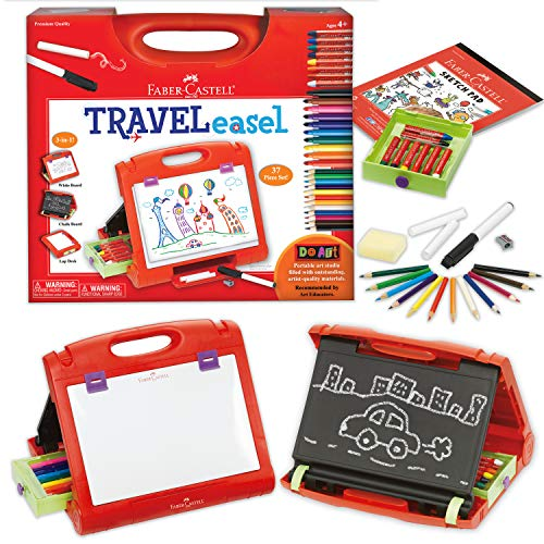 Faber-Castell Do-Art 3-in-1 Travel Easel - 30 Piece Tabletop Easel for Kids with Art Supplies