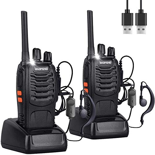 Nineaccy Walkie Talkies Rechargeable Walkie Talkie Long Range 2 way radio Set Walky Talky with Earpieces Handheld Transceiver with LED Light for Adults