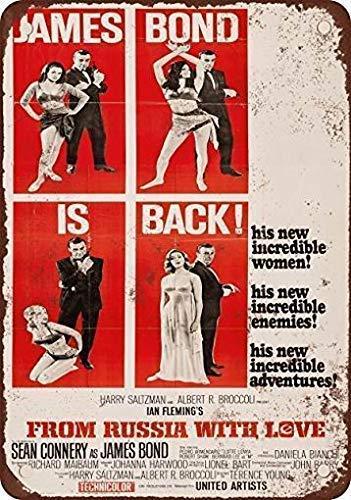 TammieLove Blechschild New 1964 James Bond from Russia with Love Retro Indoor Outdoor Blechschild 20x30,5 cm
