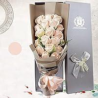 xinxin-homeソープフラワー 花束造花人気ギフトプレゼントお祝い お見舞い 石鹸花枯れない花バラ型ロマンチック雰囲気お誕生日 結婚記念日 贈り物ローズ感謝ボックス付き 1810-シャンパン
