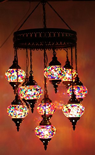 Mosaic Chandelier Set 9 Globe, Handmade Authentic Tiffany Lighting Moroccan Lamp Glass Stunning Bedside Night Lights Brass&Glass Ottoman Turkish Style