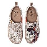 UIN Damen Segelschuhe Canvas Sneaker, Modell Das Schwarze Perle, Gedruckt Reise Slip On Unisex Schuhe 35