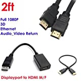 YarMonth - Premium DisplayPort to HDMI Male to Female Cable Adapter+Gold High-Speed HDMI Cable (2 Feet/0.6 Meters) - Supports Ethernet, 3D, and Audio Return [Newest Standard]