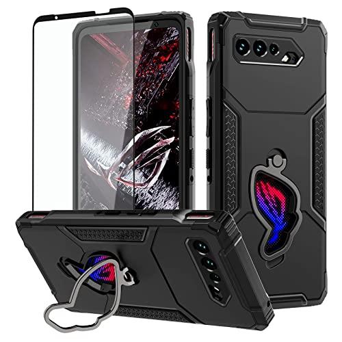 HikerClub Hülle Kompatibel für Asus ROG Phone 5 / 5s,Armor Hülle Air Trigger kompatibel Fallschutz in Militärqualität mit Integriertem Ständer, Kameraschutz,Staubstöpsel,Schwar