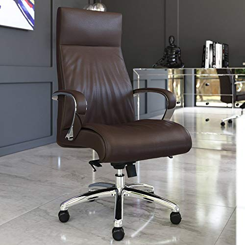 Zuri Furniture Forbes Genuine Leather Aluminum Base High Back Executive Chair - Dark Brown