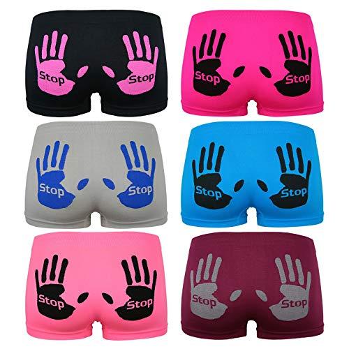 ReKoe 6er Pack Seamless Hotpants Panty Mikrofaser mit Stop Händen Unterwäsche Dessous, Größe:S-M = 36/38