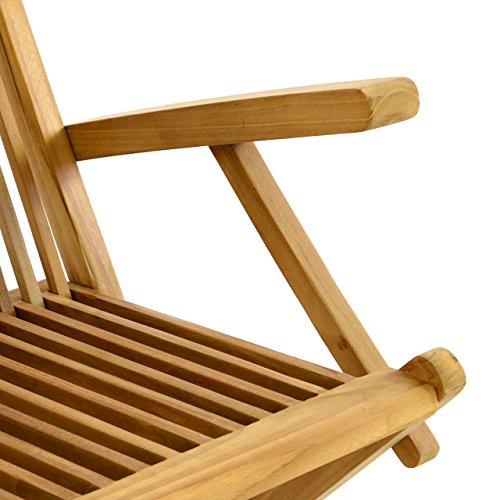 Nexos DIVERO 4er-Set Klappstuhl Teakstuhl Gartenstuhl Teak Holz Stuhl mit Armlehne für Terrasse Balkon Wintergarten witterungsbeständig behandelt massiv klappbar natur