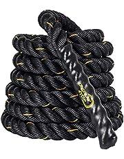 Display4top Battle Rope, zwart fitnesstouw voor krachttraining, spring- en klimoefeningen, touwtrekken, dikte 38 mm, lengte 9/12/15 meter