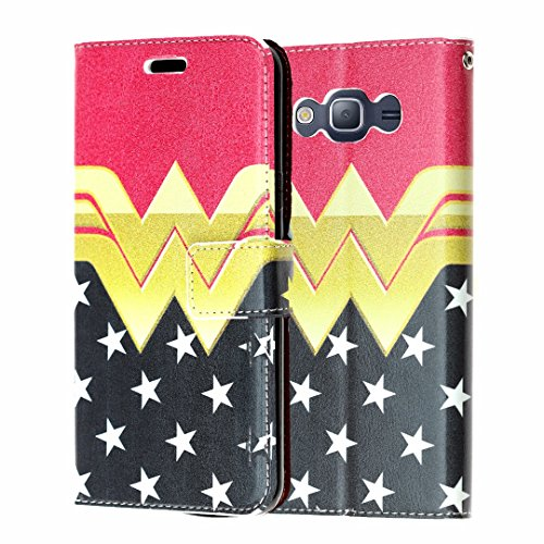 J3 Wallet Case, Express Prime Case, Amp Prime Case, DURARMOR Wonder Woman Premium PU Leather Wallet Case with ID Credit Card Cash Slots Flip Stand Wrist Strap for J3 2016