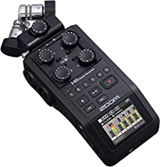 Portable 6-track portable recorder for recording podcasts, audio for video, music, and more Includes detachable X/Y capsule perfect for all types of live stereo recording, compatible with all Zoom Input Capsules Four mic/line level inputs with XLR/TR...