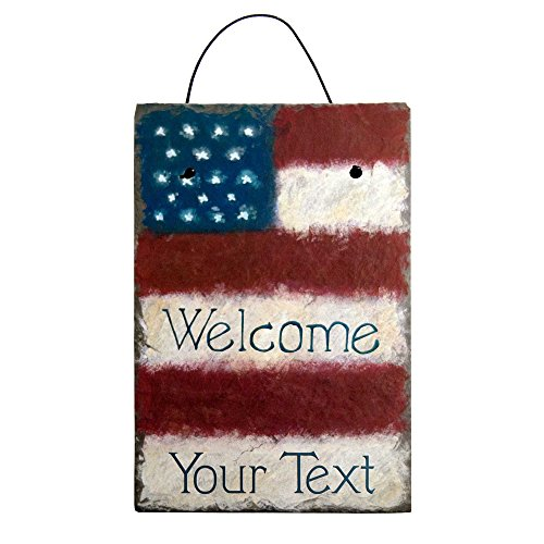 Cohas Personalized Stars and Stripes American Flag Hand Painted Welcome Sign on 8 by 12 Inch Slate Board with Choice of Text