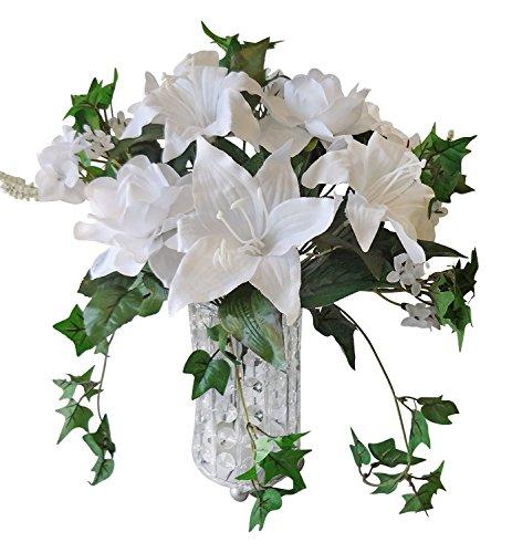 35,6cm Gardenia/Lily/Mini Ivy boda ramo de flores, color blanco
