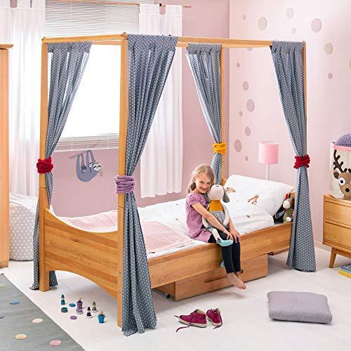 BioKinder 22733 Spar-Set Noah Bett Himmelbett Kinderbett aus Massivholz Erle 90 x 200 cm