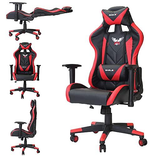 Cadeira Pc Gamer Gaming De Escritório EagleX Profissional Sistema Relax Giratória Com Braço 3D - Vermelho