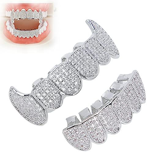 Hip Hop Grillz Zähne, Zähne Grillz Für Männer Frauen Iced Bling Grillz Zähne Dekoration Für Halloween Grillz für Teeth für Zahnpflegesets Party Performance(Silber)