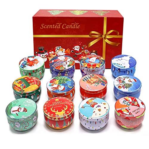 Juego de 12 velas aromáticas de Navidad, aceite vegetal, cera de soja, sin humo, doce fragancias para habitaciones, Navidad, yoga, decoración