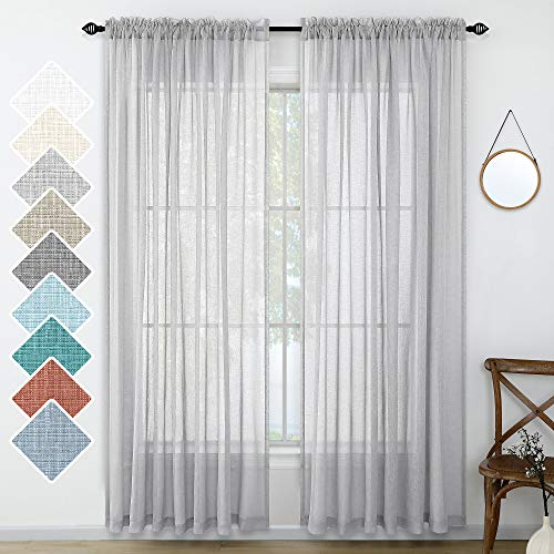 Light Grey Curtains 108 Inches Long for Living Room 2 Panel Set Rod Pocket Decorative Linen Look Semi Sheer Curtain Extra Long for Bedroom Patio Sliding Door French Door 52x108 Inch Length Silver Gray