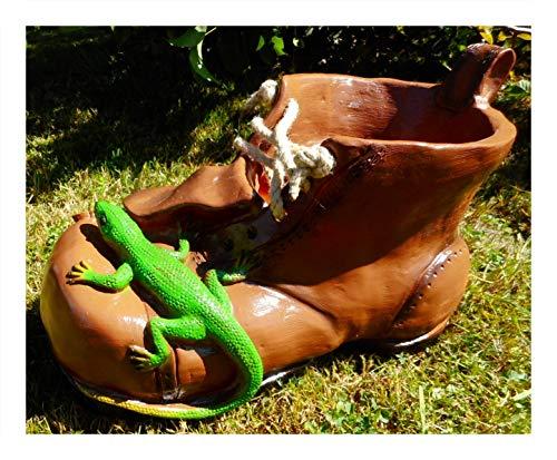 Pflanztopf Schuh Echse bepflanzen 33 x 22 cm Zwerg Garten PVC Deko GRS 0895pf