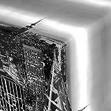 KEVKUS Wachstuch Tischdecke 06010-01 New York Skyline Silber Bordürenmuster wählbar in eckig rund oval (Rand: Paspel (mit Kunststoffband), 140 x 260 cm oval)