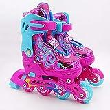 Bradoner Patines en línea de poliuretano ajustables para niños de una sola fila de patines de flash completo, patines transpirables y silenciosos, cómodos de llevar (talla M: M)