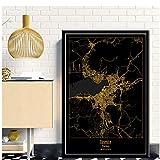 LIUXR Izmir Türkei Schwarz & Gold Stadtkarten