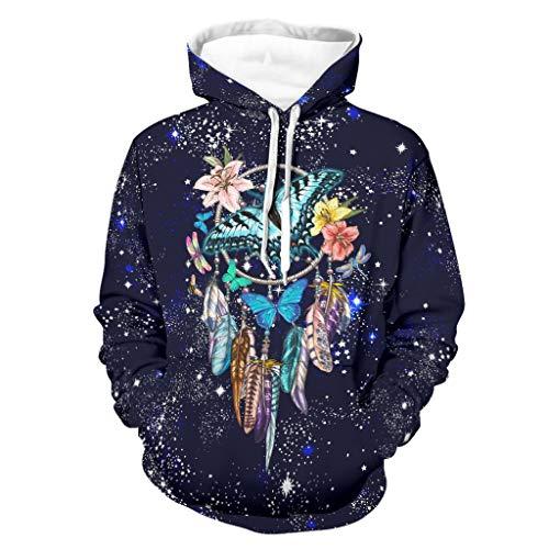 Atrapasueños de flores de mariposa azul sudaderas suave suéter de moda con bolsillo canguro bifurcado para wokers Sporters para fiesta de trabajo