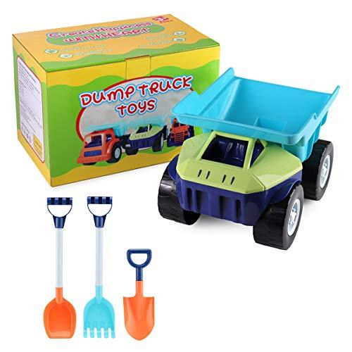 SHANNA Camión de Juguete Grande, Dumper Juguete de Playa y Arena para Niños Vehículo Grande con Rastrillo de Palas Grandes para Cumpleaños de Niños/Regalos Navideños (Camión A)