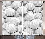 Cortinas deportivas, pila de pelotas de golf realistas juntas, imagen de primer plano, desafío, entretenimiento, sala de estar, dormitorio, cortinas para ventanas, juego de 2 paneles, blanco gris