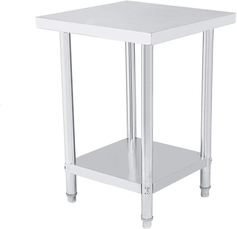 Professioneller Arbeitstisch aus Edelstahl, doppelwandig, hhenverstellbar von Catering und Arbeitstisch aus Silber für Küche und Operationen 61X61CM