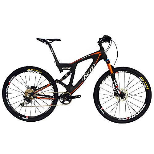 BEIOU® Carbon Dual Suspension Mountain Bicycles All Terrain 27.5 Inch MTB 650B Bike Shimano DEORE 10 Speed 12.7kg T700 Frame Matte 3K CB22 (Orange, 18')