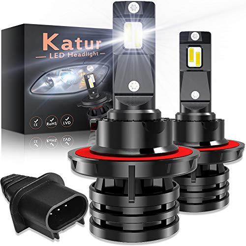 KATUR H13 9008 Haz Alto/bajo Led Bombillas para Faros Delanteros Diseño Mini Chips de CREE mejorados 12000 LM Kit de conversión LED Todo en uno a Prueba de Agua 55W 6500K Xenon Blanco