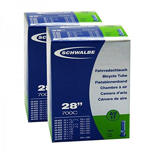 2x Schwalbe Fahrrad Schlauch 28/29 Zoll AV17 28x1 1/2-1.75 28-47/622 NR.17 AV