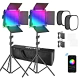 Neewer 2 Paquetes Luz LED 660 RGB Control de Aplicación Kit de Iluminación de Video con Soporte Softbox y Bolsa LED 660 SMD Regulables/CRI95/3200K-5600K/0-360 Colores Ajustables/9 Escenas Aplicables