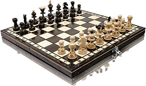 ¡Impresionante juego de ajedrez de madera europeo popular PEARL 35cm   13.8in! Piezas y tablero de ajedrez hechos a mano por Master Of Chess