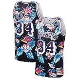 Camiseta de Baloncesto para Hombre NBA Los Angeles Lakers 34# Shaquille O'Neal Cómodo/Ligero/Transpirable Bordado Malla Bordado Swing Swing Swing Sweatshirt,XXL