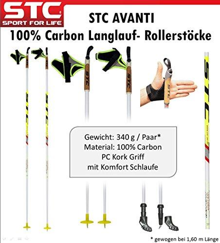 STC Avanti 100% Carbon Langlaufstock Skating Roller Stöcke Rollski Skiroller Stöcke Skike 165 cm